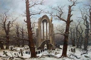 Monasterio de Graveyard nevado- C. D. Friedrich
