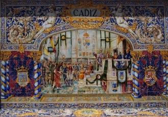Mural cerámico representando a Cádiz (Plaza de España en Sevilla)