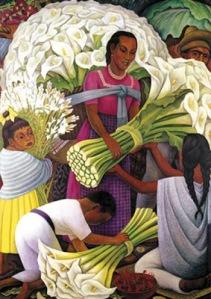 Vendedora de flores. Diego Rivera (pintor mexicano)